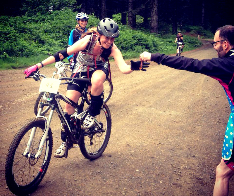 The author, Umabomber, refuels midrace at the Sturdy Dirty Enduro bacon handup station