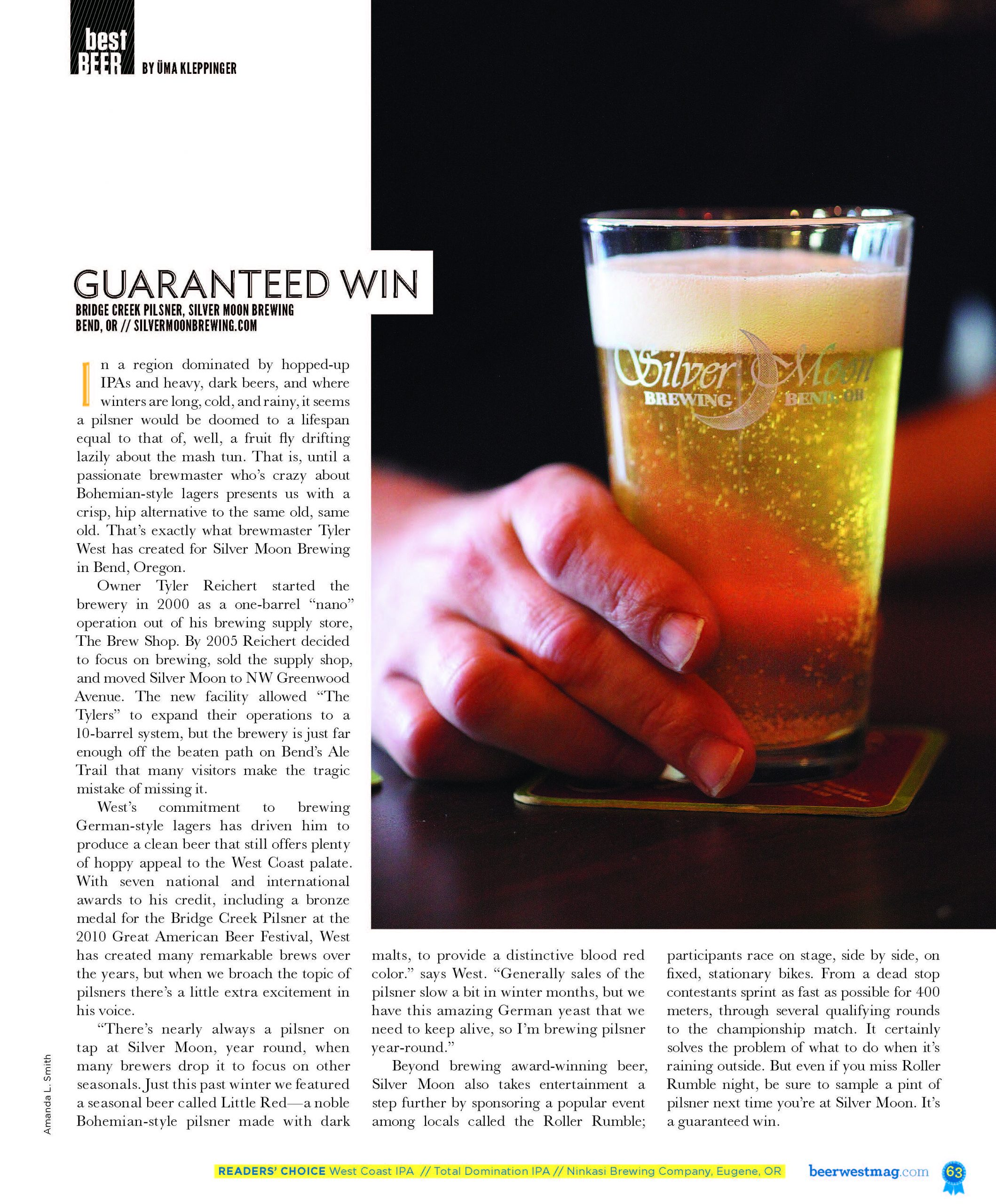 image of article of Silver Moon Brewery pilsner review by uma Kleppinger