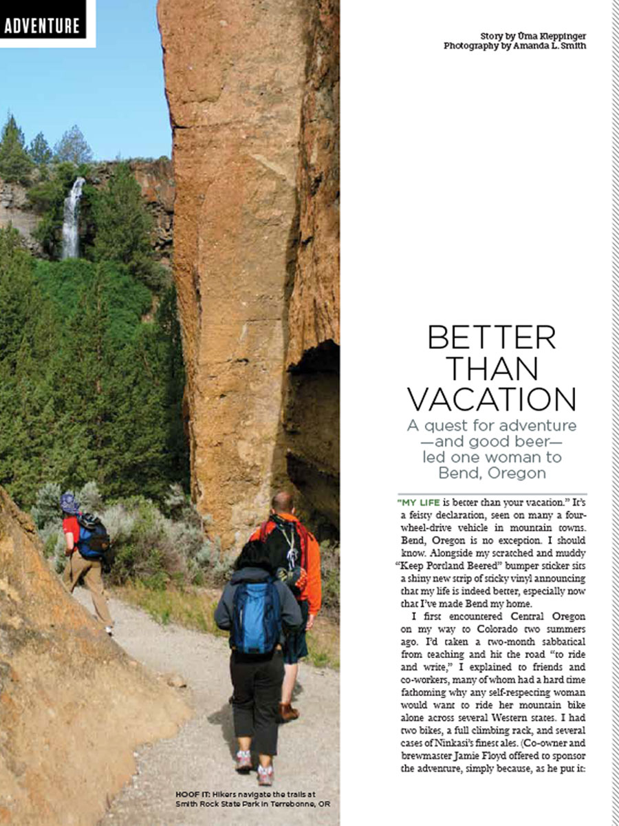 screenshot of article for Beer NW magazine titled Better Than Vacation by Üma kleppinger