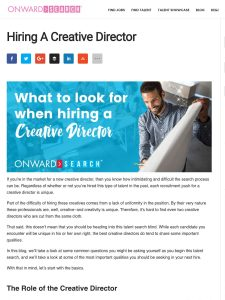 screen shot of blog article about hiring a creative director