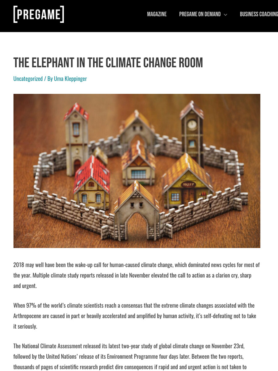 screenshot of pregame magazine article titled the elephant in the climate change room by Üma kleppinger