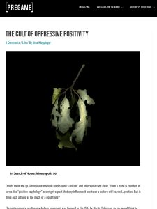 SCREEN SHOT OF ARTICLE ON OPPRESSIVE POSITIVITY BY Üma KLEPPINGER