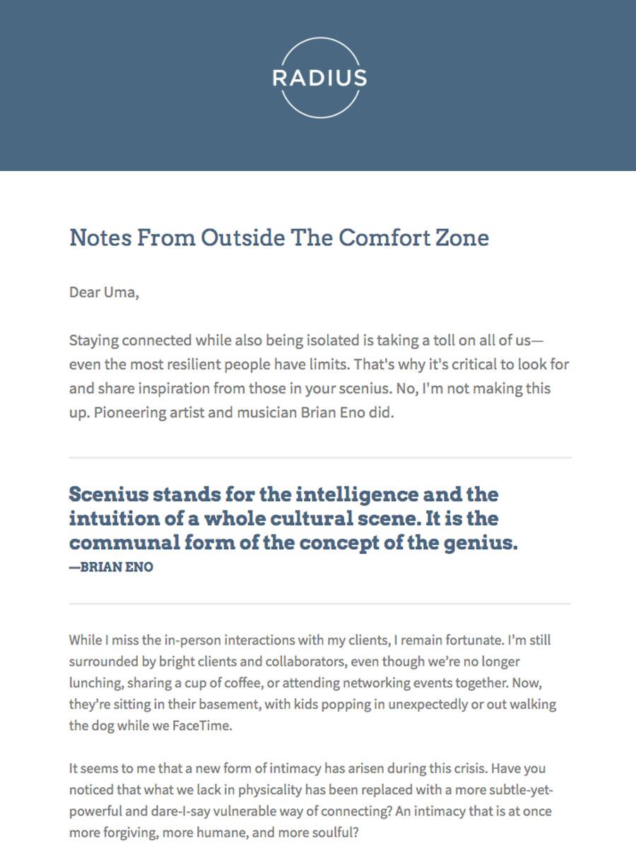 screen shot of radius email scenius