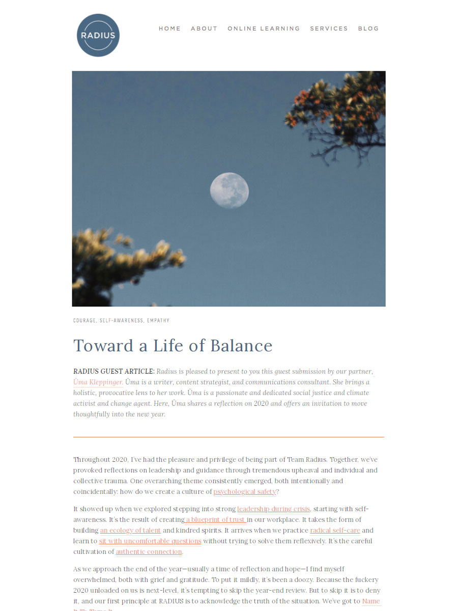 screen shot of radius artcle toward a life of balance by Üma kleppinger